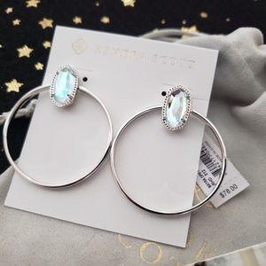 Kendra Scott Mayra Silver Hoop Earrings Dichroic